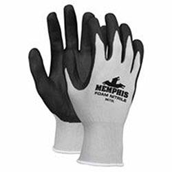 Memphis Glove Foam Nitrile Gloves, Large, Black/Gray