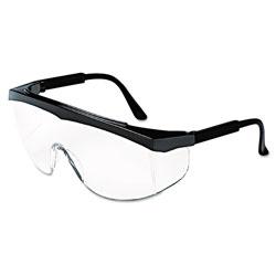 Crews Stratos Safety Glasses, Black Frame, Clear Lens