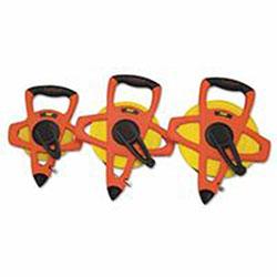 Lufkin Hi-Viz Reel Tape Rule, 1/2 in x 100ft, Plastic Case, Orange, 1 in Graduation