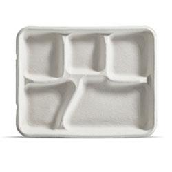 Huhtamaki Savaday Cafeteria Tray, 8 1/4 in x 1 in x 10 3/8 in, White, 240/Carton