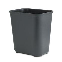 Rubbermaid Fire-Resistant Wastebasket, Rectangular, Fiberglass, 7 gal, Black