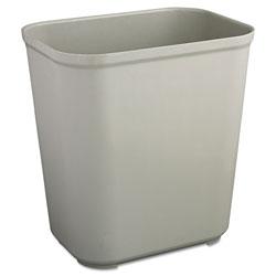 Rubbermaid Fire-Resistant Wastebasket, Rectangular, Fiberglass, 7 gal, Gray