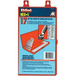 Eklind 17 Piece Long Series Hex-l Key Set In Metal Box