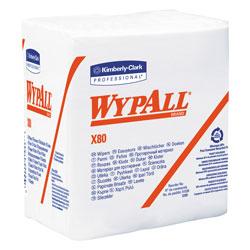 WypAll* X80 Cloths, HYDROKNIT, 1/4 Fold, 12 1/2 x 12, White, 50/Box, 4 Boxes/Carton
