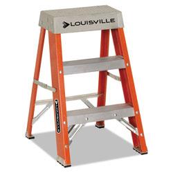 Louisville Ladder Fiberglass Heavy Duty Step Ladder, 26 in Working Height, 300 lbs Capacity, 2 Step, Orange