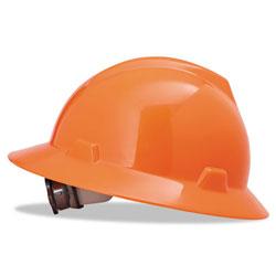 MSA V-Gard Full-Brim Hard Hats, Ratchet Suspension, Size 6 1/2 - 8, High-Viz Orange