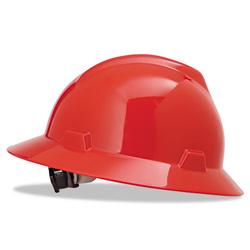 MSA V-Gard Full-Brim Hard Hats, Ratchet Suspension, Size 6 1/2 - 8, Red