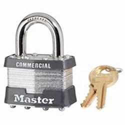 Master Lock Company Laminated Padlocks Keyed Alike Key Code 0303, 5/16 in Dia.,3/4 in W, Silver
