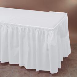 Hoffmaster Plastic Tableskirt, 14'x29 in, White