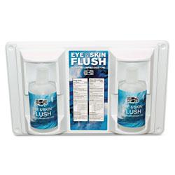 Pac-Kit Twin Bottle Eye Flush Station w/Two 16oz Bottles, 3.75 inD x 13.5 inH x 16.5 inW