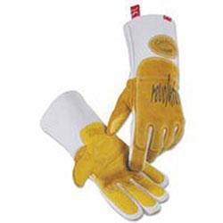 Caiman Revolution Welding Gloves, Goat Grain Leather, Medium, White/Brown