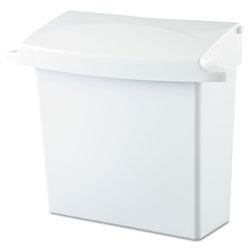Rubbermaid Sanitary Napkin Receptacle with Rigid Liner, Rectangular, Plastic, White