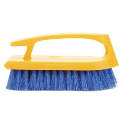 Rubbermaid Long Handle Scrub Brush, 6 in Brush, Yellow Plastic Handle/Blue Bristles