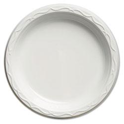 Genpak Aristocrat Plastic Plates, 9 Inches, White, Round, 125/Pack
