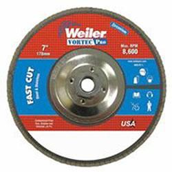 Weiler Vortec Pro Abrasive Flap Discs, 7in, 36 Grit, 5/8 Arbor, 8,600 rpm, Phenolic