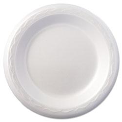 Genpak Foam Dinnerware, Plate, 6 in dia, White, 125/Pack, 8 Packs/Carton