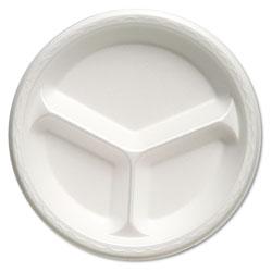 Genpak Foam Dinnerware, Plate, 3-Comp, 10 1/4 in dia, White, 125/Pack, 4 Packs/Carton