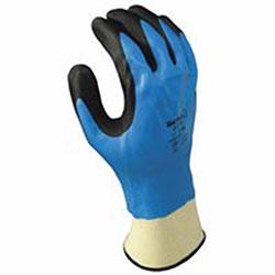 Showa Foam Grip 377 Nitrile-Coated Gloves, XL, Blue/Black