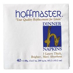 Hoffmaster Dinner Napkin, 17 inx17 in, White
