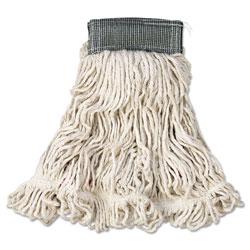 Rubbermaid Web Foot Wet Mop, Cotton/Synthetic, White, Medium, 5 in Green Headband, 6/Carton