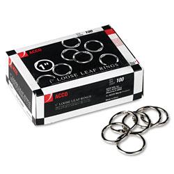 Acco Metal Book Rings, 1 in Diameter, 100 Rings/Box