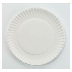 AJM Packaging White Paper Plates, 6 in dia, 100/Pack, 10 Packs/Carton