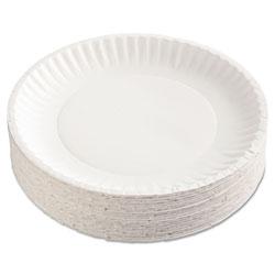 AJM Packaging Paper Plates, 9 in Diameter, White, 100/Pack, 12 Packs/Carton