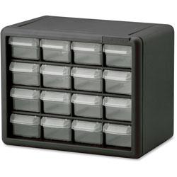 Akro-Mills Plastic Storage Cabinet, 16-Draw, 6-3/8 inx10-1/2 inx8-1/2 in, GY