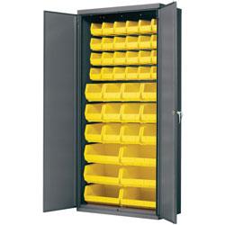 Akro-Mills Storage Bin Cabinet, w/42 Bins, 36 inx18 inx78 in, Gray