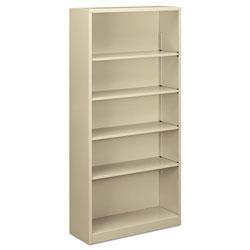 Alera Steel Bookcase, 5-Shelf, 34.5 inw x 12.63 ind x 71 inh, Putty