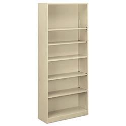 Alera Steel Bookcase, 6-Shelf, 34.5 inw x 12.63 ind x 81.13 inh, Putty