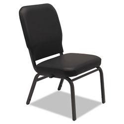 Alera Oversize Stack Chair without Arms, Vinyl Upholstery, Black Seat/Black Back, Black Base, 2/Carton