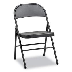 Alera Steel Folding Chair, Graphite Seat/Graphite Back, Graphite Base, 4/Carton
