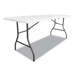 Alera Fold-in-Half Resin Folding Table, 60w x 29 5/8d x 29 1/4h, White