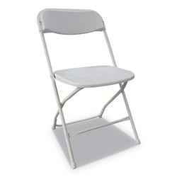 Alera Economy Resin Folding Chair, White Seat/White Back, White Base, 4/Carton