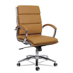Alera Neratoli Mid-Back Slim Profile Chair, Supports up to 275 lbs, Camel Seat/Camel Back, Chrome Base