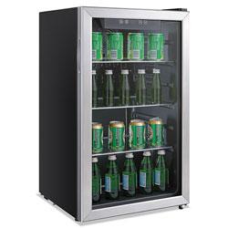 Alera 3.2 Cu. Ft. Beverage Cooler, Stainless Steel/Black