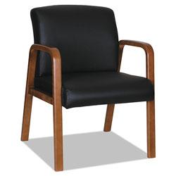 Alera Reception Lounge WL Series Guest Chair, 24.21'' x 26.14'' x 32.67'', Black Seat/Black Back, Walnut Base