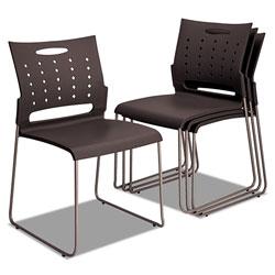 Alera Continental Series Plastic Perforated Back Stack Chair, Charcoal Gray Seat/Back, Gunmetal Gray Base, 4/Carton
