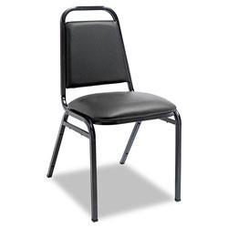 Alera Padded Steel Stacking Chair, Black Seat/Black Back, Black Base, 4/Carton