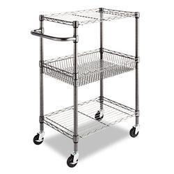 Alera Three-Tier Wire Cart with Basket, 28w x 16d x 39h, Black Anthracite