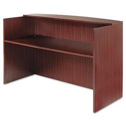 Alera Valencia Series Reception Desk with Counter, 71w x 35.5d x 42.5h, Mahogany