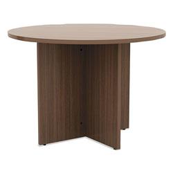 Alera Valencia Round Conference Table w/Legs, 29 1/2h x 42 dia., Modern Walnut