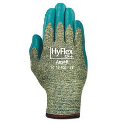 Ansell HyFlex 501 Medium-Duty Gloves, Size 8, Kevlar/Nitrile, Blue/Green, 12 Pairs
