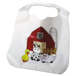 Atlantis Plastics Disposable Child-Size Poly Bibs, Zoo/Farm Pattern, Children's, 250/Carton
