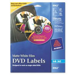 Avery Inkjet DVD Labels, Matte White, 20/Pack