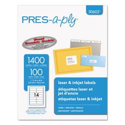 Avery Labels, Laser Printers, 1.33 x 4, White, 14/Sheet, 100 Sheets/Box