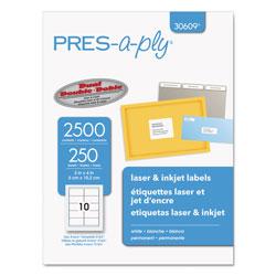 Avery Labels, Laser Printers, 2 x 4, White, 10/Sheet, 250 Sheets/Box