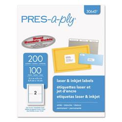 Avid Technology Labels, Inkjet/Laser Printers, 5.5 x 8.5, White, 2/Sheet, 100 Sheets/Pack