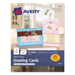 Avery Half-Fold Greeting Cards, Inkjet, 5 1/2 x 8.5, Matte White, 20/Box w/Envelopes